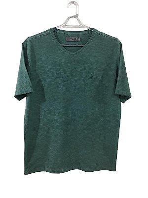 T-shirt gola V basic verde