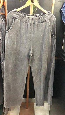 Calça pantalona preto marmorizado