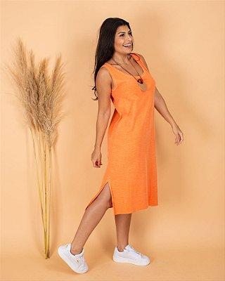 vestido midi laranja