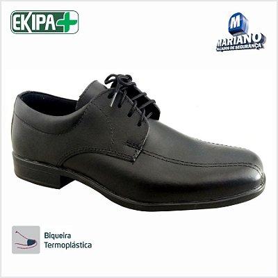 Sapato de Segurança Social Preto com Cadarço Couro Legítimo 557C9 Mariano