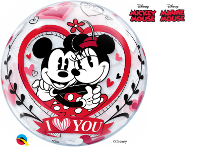 Balão Bubble Disney Mickey e Minnie Eu Te Amo