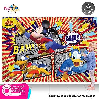 Painel sublimado em tecido Mickey Super Heróis - Tamanho 2,20m x 1,45m