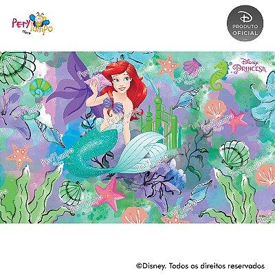Painel sublimado em tecido Pequena Sereia - Ariel Aquarela - Tamanho 4,0m x 2,50m
