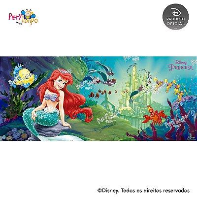 Painel sublimado em tecido Pequena Sereia - Ariel Fundo do Mar - Tamanho 7,0m x 3,0m