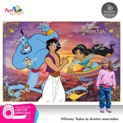 Painel sublimado em tecido Aladdin - Jasmine - Desenho - Tamanho 2,20m x 1,45m