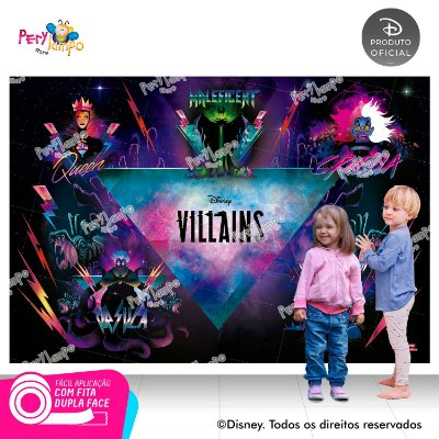 Painel de festa Decorativo -Vilões da Disney - 2,20m x 1,45m