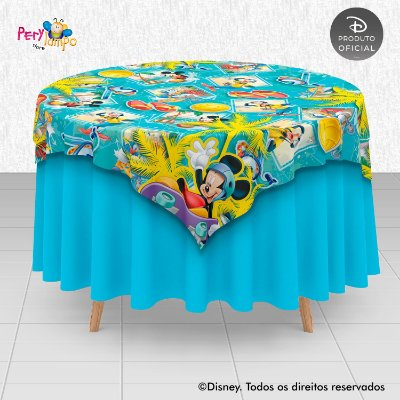 Toalha (Sobrepor) em tecido sublimado - Mickey Esportes de Verão - 1,40 x 1,40m