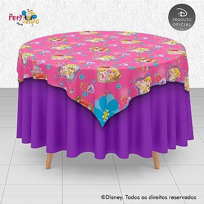 Toalha (Sobrepor) em tecido sublimado - Princesas Disney & Pets - 1,40 x 1,40m