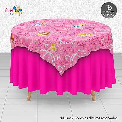 Toalha (Sobrepor) em tecido sublimado - Princesas Disney coleção Jóias - 1,40 x 1,40m