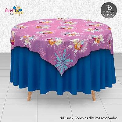 Toalha (Sobrepor) em tecido sublimado - Frozen Rosa - Anna e Elsa - 1,40 x 1,40m
