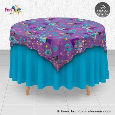 Toalha (Sobrepor) em tecido sublimado - Aladdin - Jasmine - Desenho - 1,40 x 1,40m