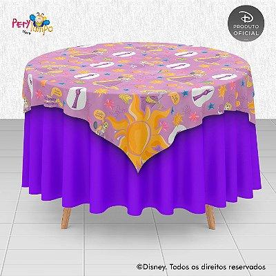 Toalha (Sobrepor) em tecido sublimado - Enrolados - Rapunzel Aquarela- 1,40 x 1,40m