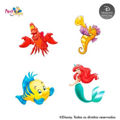 Kit 4 displays de mesa - Pequena Sereia Ariel - Fundo do Mar