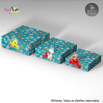 Kit 3 Suportes (Bandejas) para doces com aplique - Pequena Sereia - Ariel Peixes