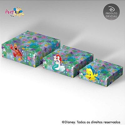 Kit 3 Suportes (Bandejas) para doces com aplique - Pequena Sereia - Ariel Aquarela