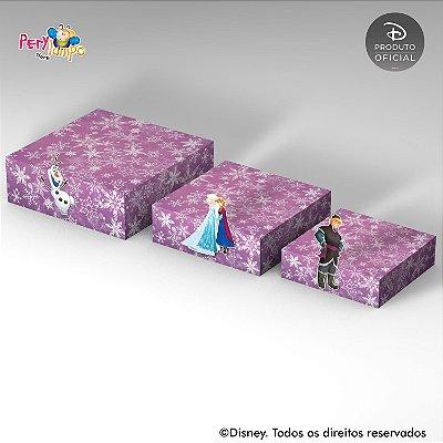 Kit 3 Suportes (Bandejas) para doces com aplique - Frozen Rosa
