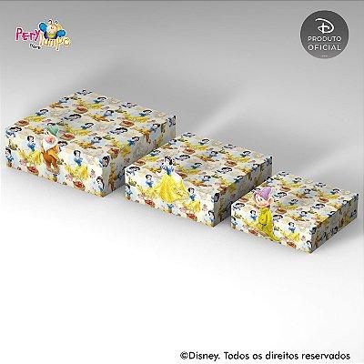 Kit 3 Suportes (Bandejas) para doces com aplique - Branca de Neve e os Animais