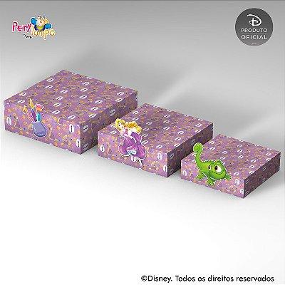 Kit 3 Suportes (Bandejas) para doces com aplique - Enrolados - Rapunzel - Aquarela