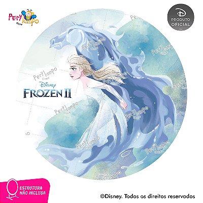 Painel festa Decorativo Redondo - Frozen 2 -Elsa Nokk -1,45D