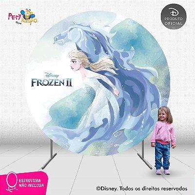 Painel Festa Decorativo Redondo - Frozen 2-Elsa Nokk - 2,10D