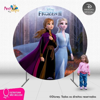 Painel Festa Decorativo Redondo - Frozen 2 -Floresta - 2,10D