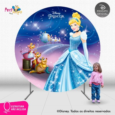 Painel de festa Decorativo Redondo - Cinderela - 2,10D
