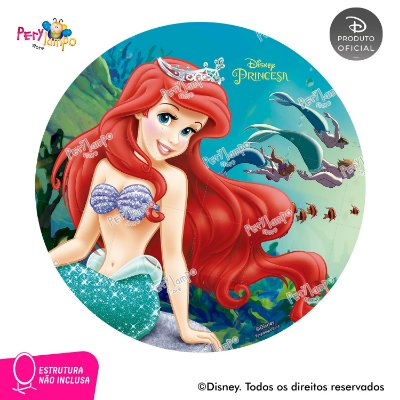 Painel Decorativo Redondo -Peq Sereia-Ariel Fundo Mar-1,45D