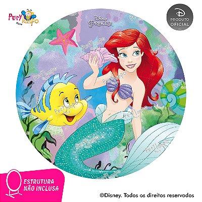 Painel Decorativo Redondo-Pequena Sereia-Ariel Aquarel-1,45D
