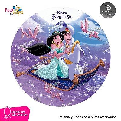 Painel Festa Decorativo Redondo Aladdin Jasmine Tapete-1,45D