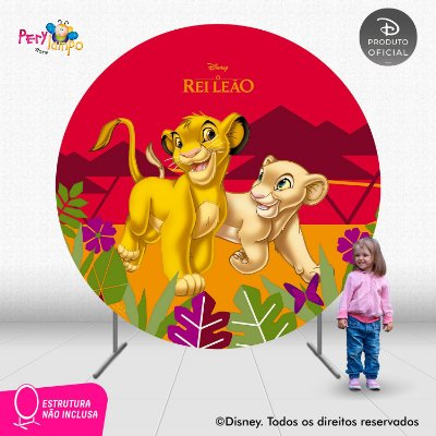 Painel Decorativo Redondo - O Rei Leão Simba e Nala - 2,10D