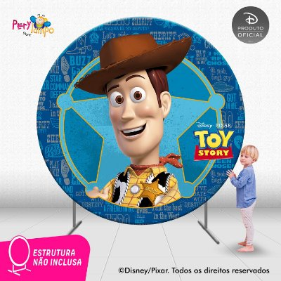 Painel festa Decorativo Redondo - Toy Story - Wood - 2,10D