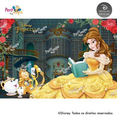 Painel Decorativo A Bela e a Fera - Biblioteca - 1,45mx1,00m