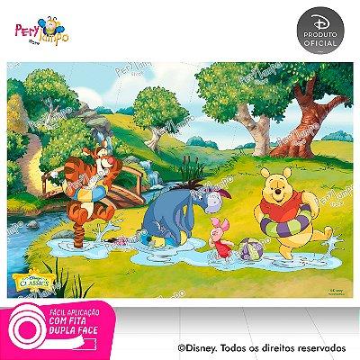 Painel de festa Decorativo - Pooh Riacho - 1,45 x 1,00m