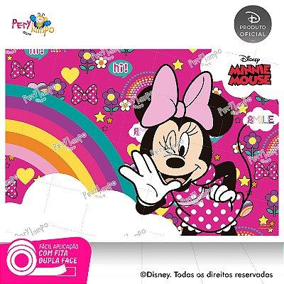 Painel festa Decorativo Minnie Arco-Íris - 1,45m x 1,00m