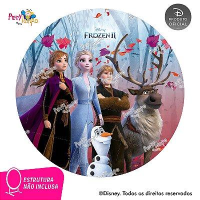 Painel de Festa Decorativo Frozen 2 Redondo - Turma 2- 1,45D