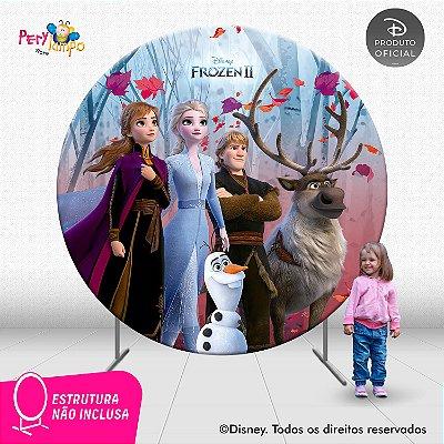 Painel de Festa Decorativo Frozen 2 Redondo - Turma 2- 2,10D