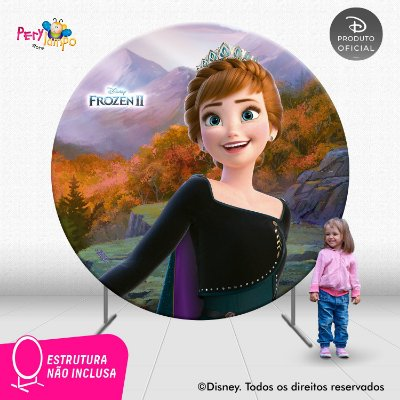 Painel Festa Decorativo Redondo Frozen 2 Anna Rainha -2,10D
