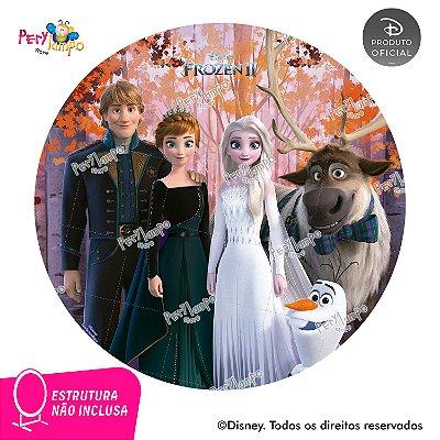 Painel Decorativo Redondo Frozen 2 - Turma Coroação - 1,45D