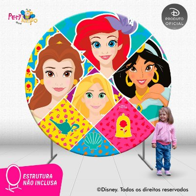 Painel Redondo Princesas Disney - Atitude que brilha-2,10D