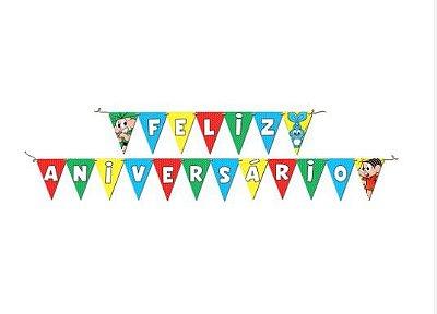 Faixa  Decorativa Feliz Aniversário Turma da Mônica