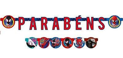 Faixa Parabéns Decorativa Homem Aranha Spider verse