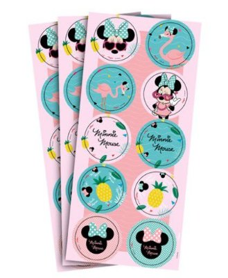 Adesivo Decorativo Redondo Minnie Flamingo - Disney