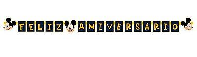 Faixa decorativa Feliz Aniversário Mickey Clássico - Disney