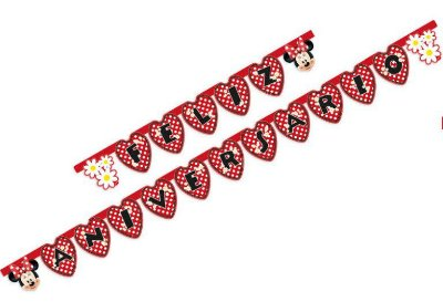 Faixa decorativa Feliz Aniversário Minnie Vermelha - Disney