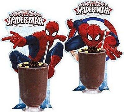 Copinho com enfeite e colherzinhas Homem Aranha Spider-Man
