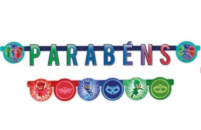 Faixa Parabéns Decorativa PJ Masks