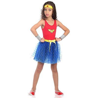 Fantasia Mulher Maravilha Infantil - Dress Up - Liga da Justiça