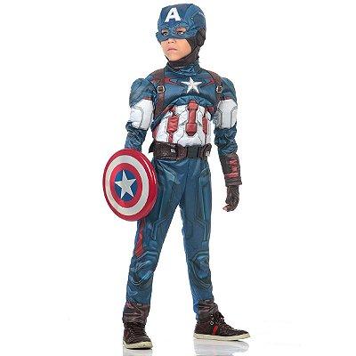 Fantasia Capitão América com Peitoral Luxo Avengers Marvel