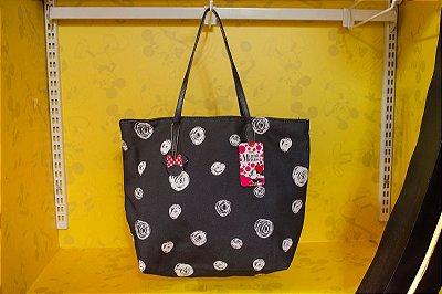 Bolsa Preta Detalhes Rosas Brancas Minnie - Disney
