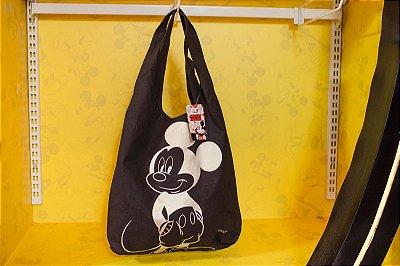 Bolsa Preta Estampa Mickey Dourada Mochilão - Disney